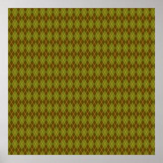 Olive Green Diamond Argyle Pattern Posters