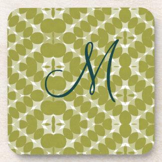 Olive Green Diamond Pattern Monogram Cork Coaster
