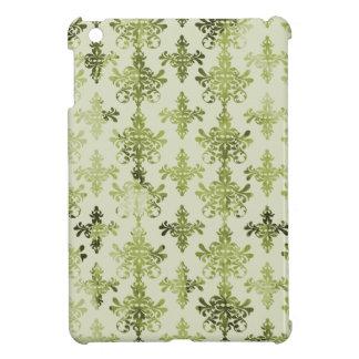 olive green distressed damask iPad mini cases