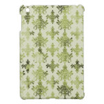 olive green distressed damask iPad mini cases