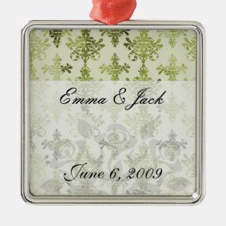 olive green distressed damask metal ornament