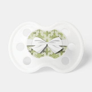 olive green distressed damask pacifier
