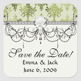 olive green distressed damask square sticker