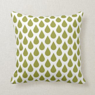 Olive Green Drops Pattern Pillow
