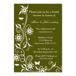 Olive Green Floral Swirl Bridal Shower Invitation