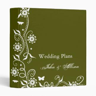 Olive Green Floral Swirl Wedding Organizer Binder