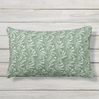 Olive Green Floral Swirls Outdoor Lumbar Pillow