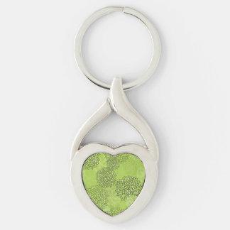 Olive Green Flower Burst Keychain