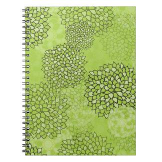 Olive Green Flower Burst Notebook