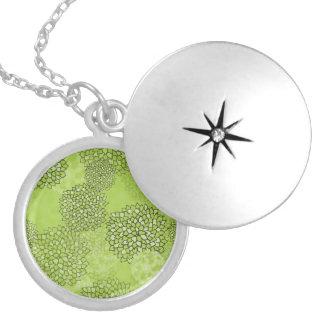 Olive Green Flower Burst Round Locket Necklace