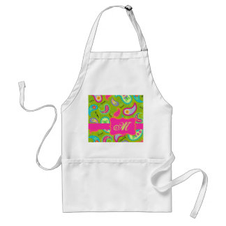 Olive Green Fuchsia Pink Modern Paisley Monogram Adult Apron
