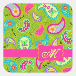 Olive Green Fuchsia Pink Modern Paisley Monogram Square Sticker