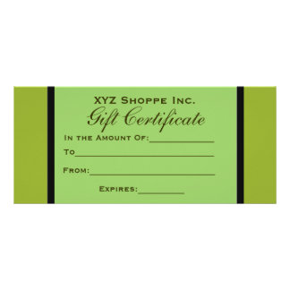 Olive Green Gift Certificate Rack Card