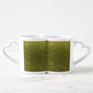 Olive green glitter couples mug