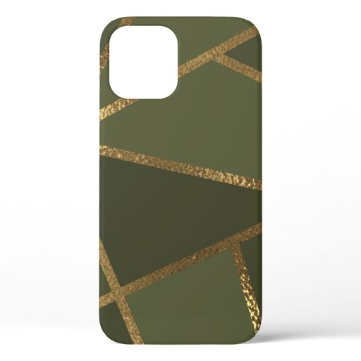 Olive Green Gold Bronze Geometric Glam Chic  iPhone 12 Case