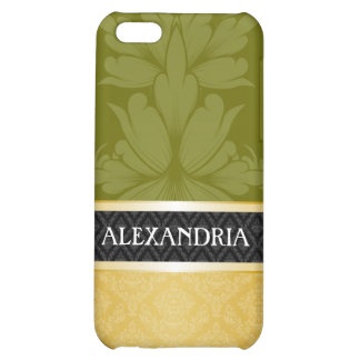 Olive Green & Gold Customized Damask iPhone 4 Case