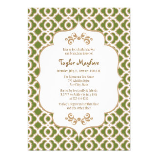 Olive Green Gold Moroccan Bridal Shower Invites