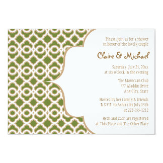 Olive Green Gold Moroccan Couples Wedding Shower Card