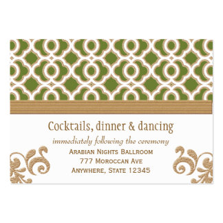 Olive Green Gold Moroccan Reception Enclosure Card Business Card Template