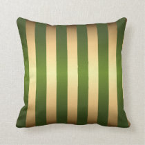Olive Green Gold Stripes Pattern Throw Pillow