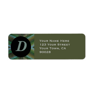 Olive green grey monogram label