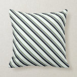 [ Thumbnail: Olive Green, Grey, Slate Gray, Black & Mint Cream Throw Pillow ]