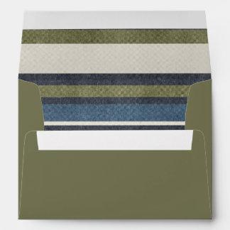 Olive Green Grunge Stripes Envelope