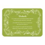 "Olive Green Hand-Drawn Foliage Response Card RSVP 3.5"" X 5"" Invitation Card"