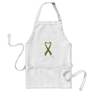 Olive Green Heart Shaped Awareness Ribbon Adult Apron