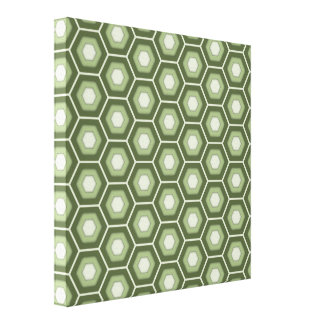 Olive Green Hex Tiled Canvas