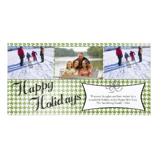 Olive green houndstooth christmas holiday 3 photo card