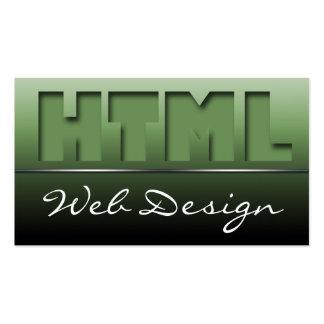 Olive Green HTML Web Design Sleek Business Cards