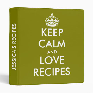 Olive green keep calm and love recipes binder