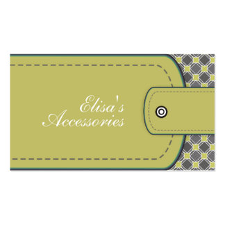 Olive green leather look and pattern custom Double-Sided standard business cards (Pack of 100)