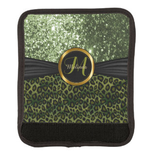 Olive Green Leopard and Glitter - Monogram Handle Wrap