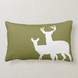 Olive Green Male Female Deer Pillow
