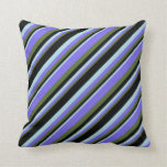 [ Thumbnail: Olive Green, Medium Slate Blue, Light Blue & Black Throw Pillow ]
