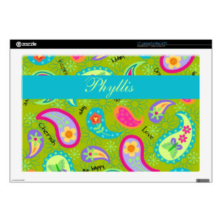 """Olive Green Modern Colorful Paisley Personalized Decals For 17"""" Laptops"""