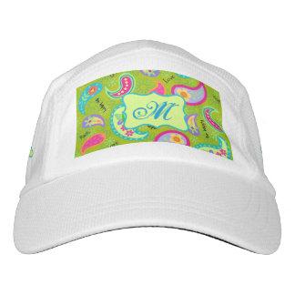 Olive Green Modern Paisley Monogram Initial Hat