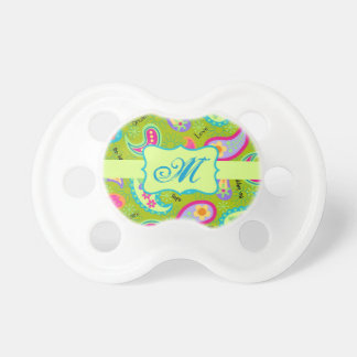 Olive Green Modern Paisley Pattern Monogram BooginHead Pacifier