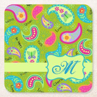 Olive Green Modern Paisley Pattern Monogram Square Paper Coaster