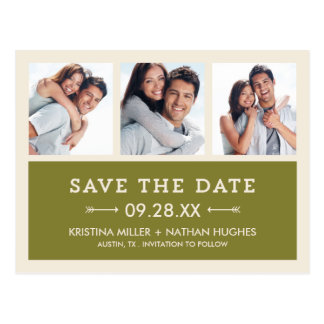 Olive Green Modern Photo Collage Save the Date Postcard
