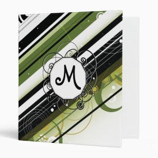 Olive Green Modern-Retro Stripes with Monogram 3 Ring Binder