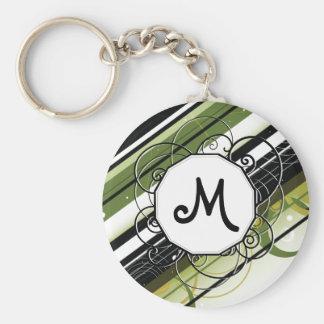 Olive Green Modern-Retro Stripes with Monogram Keychain