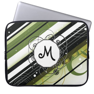 Olive Green Modern-Retro Stripes with Monogram Computer Sleeve