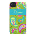 Olive Green Modern Trendy Paisley Personalized iPhone 4 Covers
