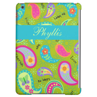 Olive Green Modern & Trendy Paisley Personalized Cover For iPad Air