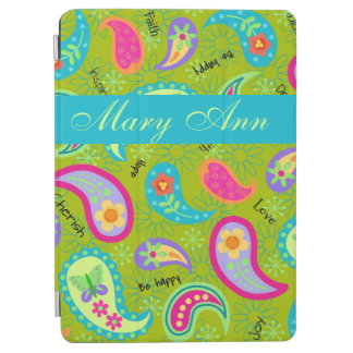 Olive Green Modern & Trendy Paisley Personalized iPad Air Cover