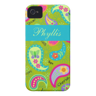 Olive Green Modern Trendy Paisley Personalized iPhone 4 Case-Mate Case