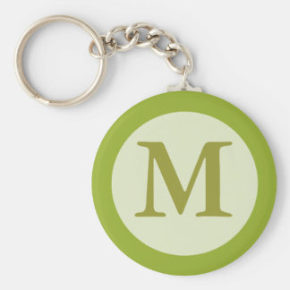 olive green monogram keychain